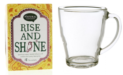 Natural Temptation biologische thee (Rise and shine) met theeglas