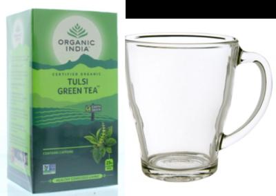 Tulsi green thee bio met thee glas