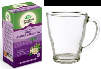 Tulsi jasmine green thee bio met thee glas