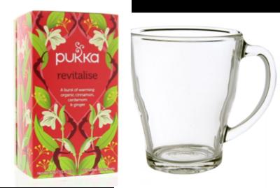 Pukka bio Revitalise thee met theeglas