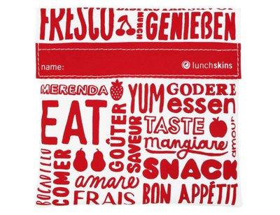 Lunchskin sandwich bag Red Words