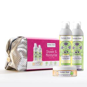 Human + Kind Toilet bag Miracle VEGAN Moisturise set (2x Shower mousse + body souffle)